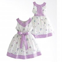 ~Cutevina~ Ficalica Sleeveless White-Purple (FC0007) Gaun anak ungu-putih