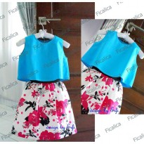 ~Cutevina~ Ficalica Sleeveless Girls Tee + Skirt (FC0012) Setelan anak