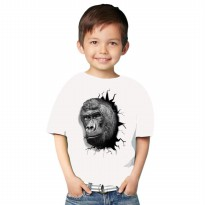 Kaos 3D Kids Kingkong Strong Putih