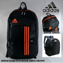 Tas Ransel Adidas Leads Full Black Check Oranye Free Rain Cover