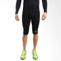 Tiento Baselayer Compression Celana Olahraga Tight Legging Half Pants Black Gold Original