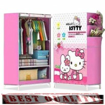 Wadah Tempat Rak Lemari Baju Busana Pakaian Portable Clothes Closet Wardrobe Storage Rack Organizer With Hanging Rod