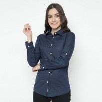 Mobile Power Ladies Pocket Basic Long Shirt - Navy Blue O8302