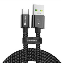 Baseus Kabel Charger USB Type C Double Fast Charging 5A 1 M - Hitam