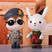 PAJANGAN 020E3Ar Wolfrabbit Shape Design Dots Descendants Of The Sun White-brown