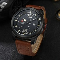 Jam Tangan Pria Naviforce Nf-9063 Black Brown Original