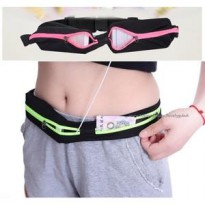 Tas Pinggang Double Pocket Running Belt Jogging Bag
