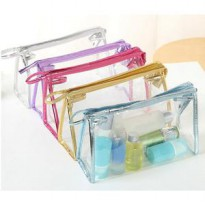 Tas Cosmetic Bag PVC Zipper Waterproof Pouch Transparan Organizer