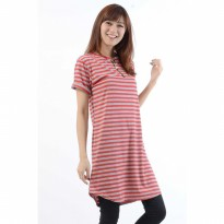 Jfashion Tunik Seleting corak salur tangan pendek simpe
