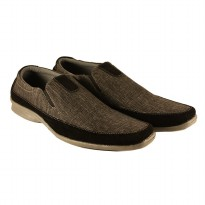 Dr.Kevin Mens Casual Slip-On Shoes Canvas 13274 Black/Gray