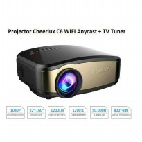 Mini Portable Projector Cheerlux C6 WiFi Edition - Anycast - TV Tuner - 1200 Lumens