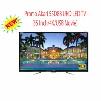 Akari 55D88 UHD LED TV [55 Inch/4K/USB Movie/Hitam]-GRATIS ONGKIR