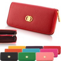 Korean Colorful Clutch Purse Brand Wallet With Gold Zipper RED