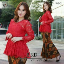 SETELAN BROKAT BABY DOLL SET ROK DUYUNG RED