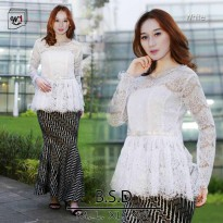 SETELAN BROKAT BABY DOLL SET ROK DUYUNG WHITE