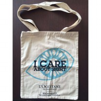 [L'OCCITANE] Tote Bag (Tas Kain) L'Occitane 'I CARE ABOUT SIGHT' - Special Edition