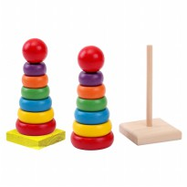 RAINBOW TOWER - WOODEN DONUT RING 3+
