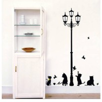 [globalbuy] cat under the lights landscape Three generations waterproof wall stickers livi/3132640