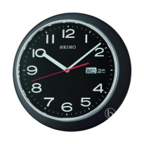 Seiko QXF102Z Quiet Sweep Day and Date Display Jam Dinding - Black [33 cm]