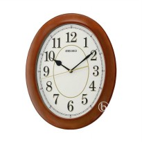 SEIKO QXA664B Quiet Sweep Wooden Wall Clock Jam Dinding - Brown [35 cm]