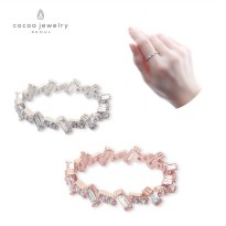 Cocoa Jewelry Cincin Wanita Korea Irregular Cubic Silver / Rose Gold Color NO BOX