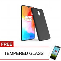 Case for OnePlus 6T - 6.41 inch - Slim Soft Case - Hitam Solid + Gratis Tempered Glass