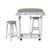 JYSK Mayson Kitchen Trolley - White Natural [81 x 74 x 83 cm]