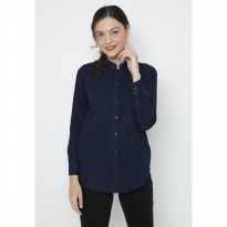 Mobile power Ladies Denim Long Sleeve Tunic - Navy Blue JA8307