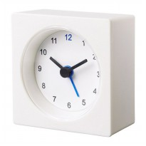 Jam Weker Putih Minimalis - Travel Alarm Clock Battery Operated - Simple Square Clock