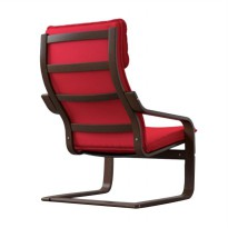 Ikea Poang Armchair - Brown Red