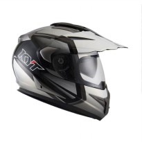 KYT ENDURO #1 BLACK/WH P GL/GUN METAL Helm Full Face