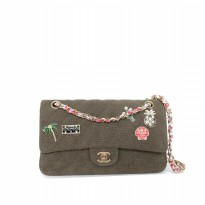 Tas Wanita Import Chanel Charms Classic Flap Bag - Army Green