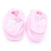 Cribcot Booties with Ribbon - Baby Pink & Broken White