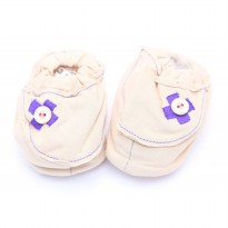 Cribcot Booties with Ribbon - Milk Choc & Dark Purple