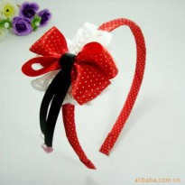 ~Cutevina~ Red Polkadot Ribbon kid headband/ Bando Anak (ACS024)