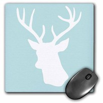 [macyskorea] 3dRose 8 x 8 x 0.25 Inches White Deer Head Silhouette on Mint Blue Stag Antle/16336617