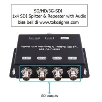 SD or HD or 3G-SDI 1X4 SDI SPLITTER & REPEATER WITH AUDIO