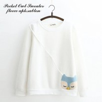 Grosir Baju Murah/Jual Sweater Murah/POCKET OWL SWEATER WHITE ML001