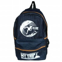 Unisex Tas Ransel Backpack My Trip My Adventure - Denim - Murah & Ergonomi (Navy)
