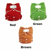 [Enphilia] Cloth Diaper perekat dengan kancing snap dan insert Warna Red, Green, Brown