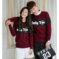 Hoodie Couple / Sweater Baju Pasangan Only You Maroon