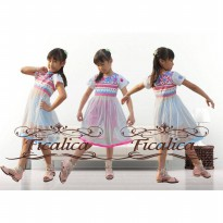 ~Cutevina~ Hotpink & Blue Girl Dress (6-8 th)/ Setelan anak (FC0027)
