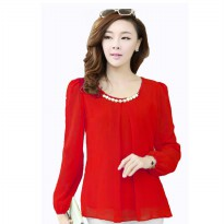 Korean style blouse with necklace Long sleeve