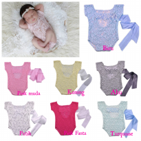 Baby photo props #Romper Lace Back Tie