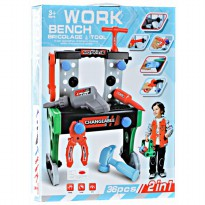 Momo Work Bench -  Bricolage & Tool 36 pcs 2 IN 1 -Ages 3+