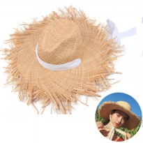 Topi Pantai Straw Brim White Bow Beach Hat - HO3444