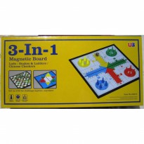 3 In 1 Magnetic Board Games : Ludo, Snake Ladder / Ular Tangga, Halma
