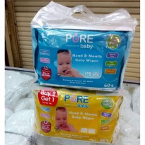 Pure Baby Hand And Mouth Baby Wipes  Buy 2 Get 1  60S Per Pack Harga Murah Promo A02