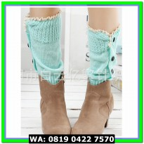 (Kaos Kaki) LEG KNIT WARMER (SHORT) 28CM GREEN MINT