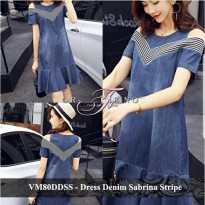 Dress Wanita Murah Baju Bahu Bolong Gaun Pendek Mermaid VM80DDSS denim sabrina stripe